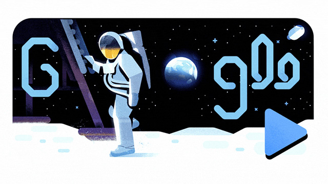Google Moon Landing Logo For 50th Anniversary