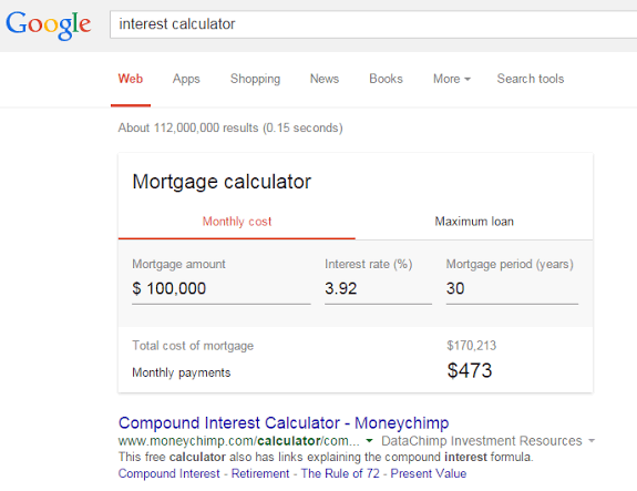 Google Mortgage Calculator Answer Box