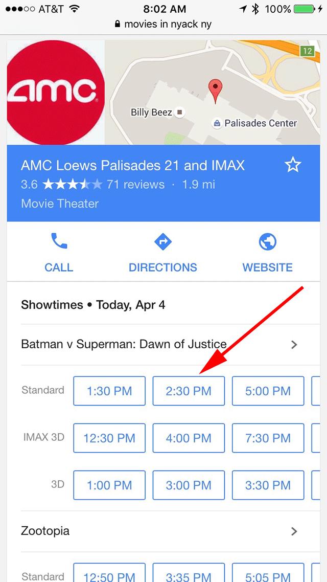 Google Movie Listings Direct You To Fandango