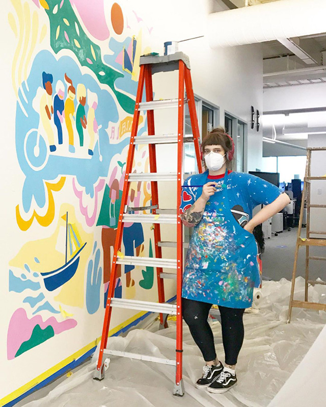 Google Mural Painting In Office During COVID