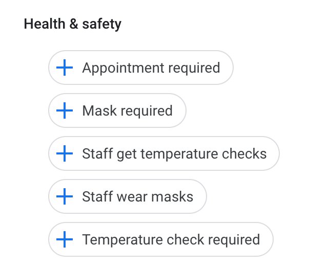 Google My Business Adds Health & Safety Attributes