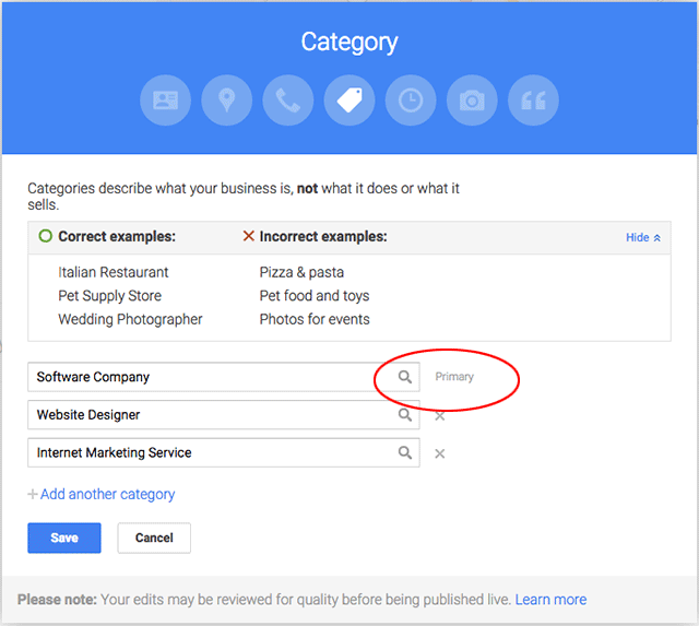 Google My Business Categories Now Requires A Primary Category