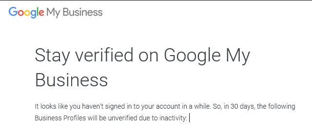 Stay verified on Google My Business