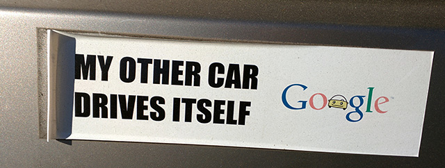 Google: My Other Car Drives Itself Bumper Sticker
