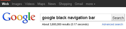 Google Black Bar
