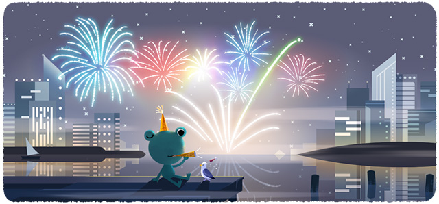 Google New Year's Eve 2019 Frog Doodle