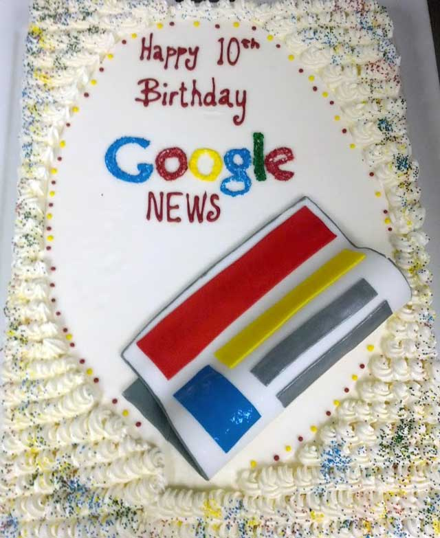 Google News Birthday Cake