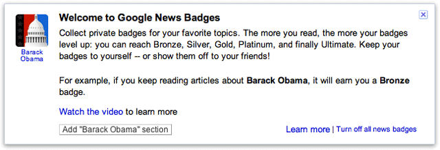 Google News Badge Welcome