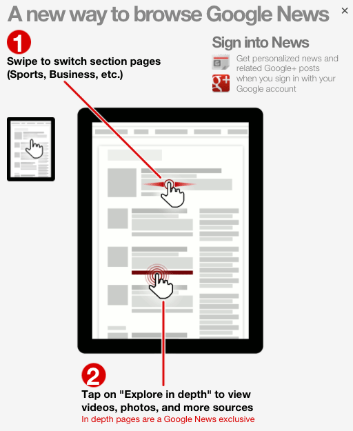 Google News Tablet Instructions