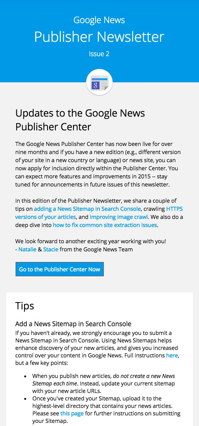 google news publisher newsletter 2
