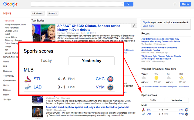 Sports Scores Back On The Google News Home Page
