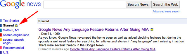 Google News Starred Section