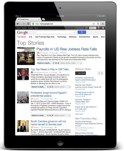 Google News on iPad
