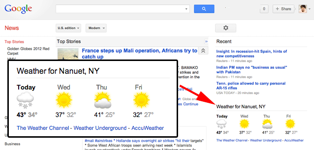 Google News Weather Box