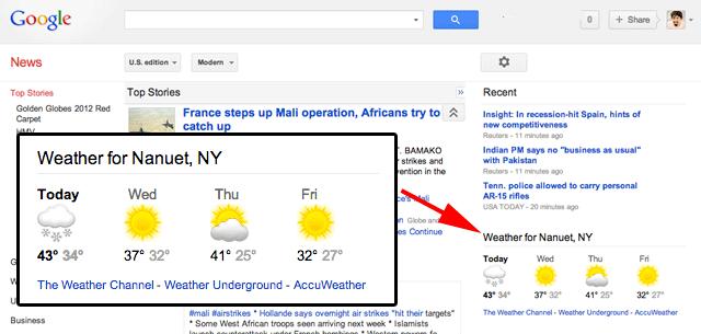 Google News Weather Box