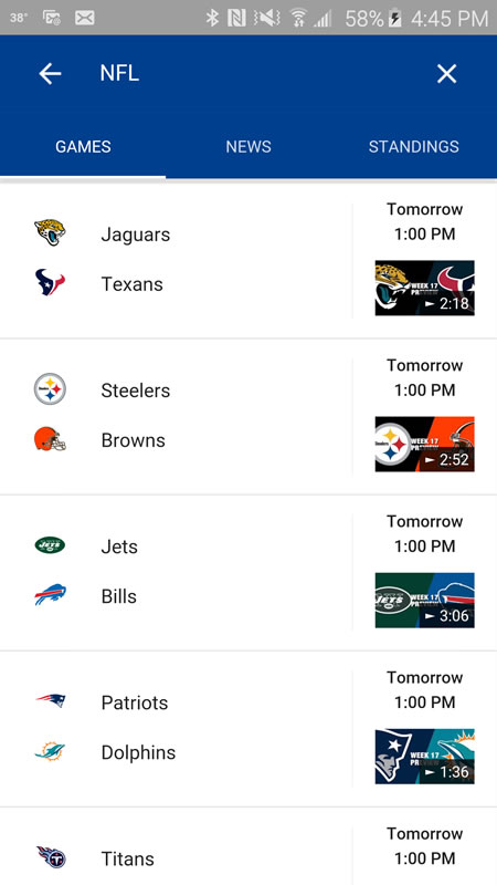 Google Updates Mobile Interface For NFL Sports Scores