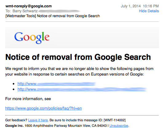 Google Webmaster Tools Right To Be Forgotten Removals