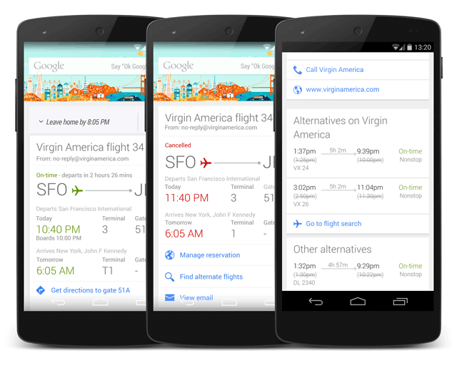 Google Now Alternative Flights