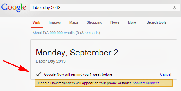 Search Google & Get Google Now Reminders