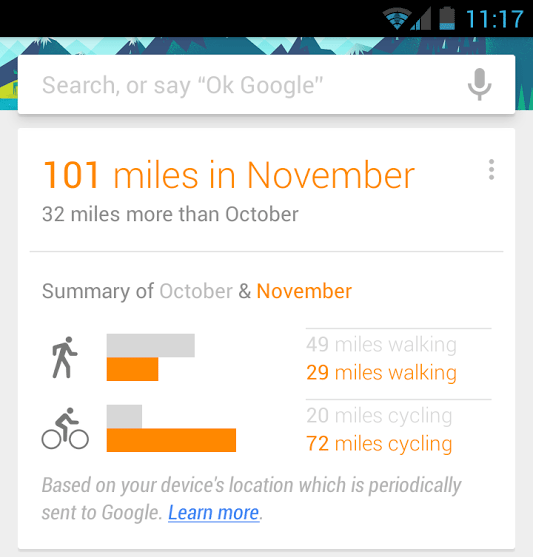Google Now Showing Miles Walked & Biked