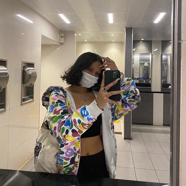 Google New York Office Bathroom COVID Mask Selfie