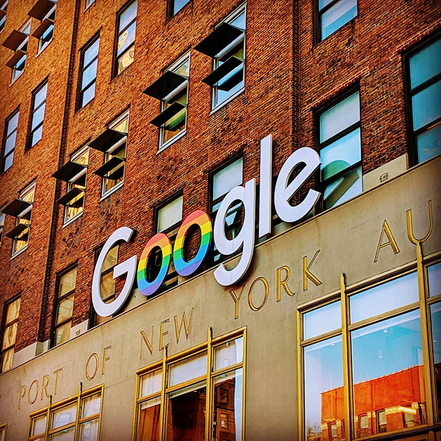 Google NYC Updates Sign For Pride Month