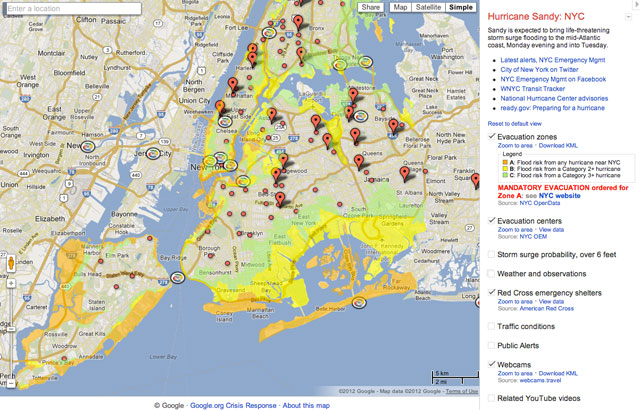 Google Map Of New York City.Google Nyc Hurricane Sandy Crisis Map