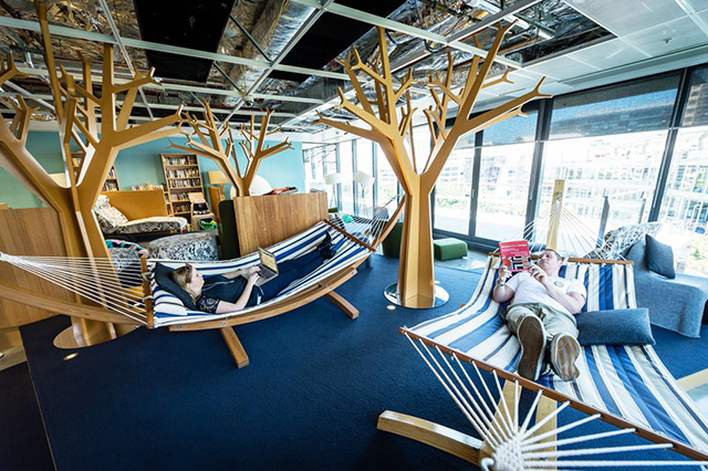 image of google office. Every Office Needs A Quiet Spot Where Their Employees Can Sit And Relax, Indoors, Laying On Hammocks. It Is Necessity Requirement, Bare Minimum Image Of Google