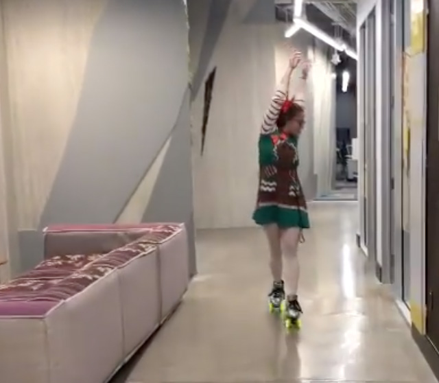 Googler Roller Skating In Office