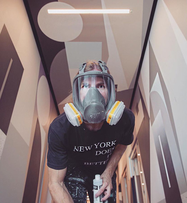 Painting Google NYC Office With A Gas Mask