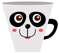 google panda coffee java cup