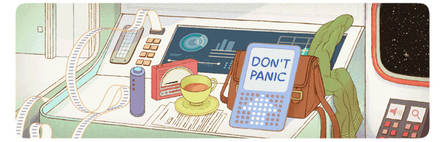 Don't Panic Google Logo For Douglas Adams