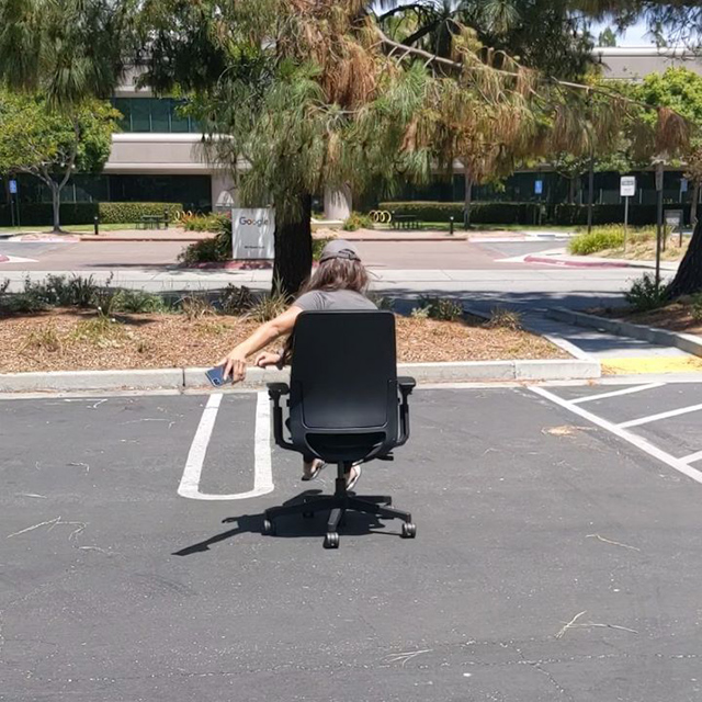 Google Parking Lot Office Chair Riding