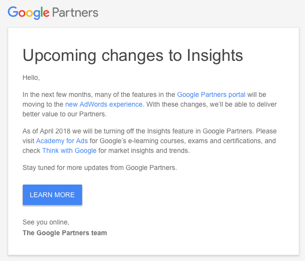 Google Partner Search Insights Leads Going Away In April 2018