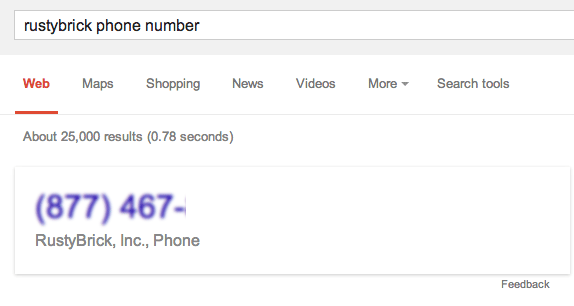 Google Hangouts Phone Numbers in Search