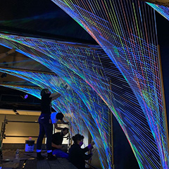 Google Pittsburgh Installing Parabolas String Art