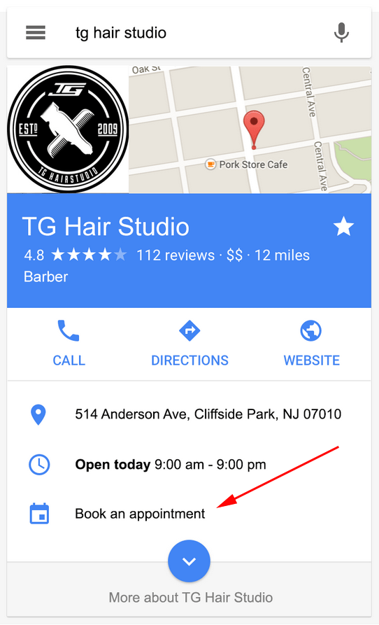 Google Place Actions Make Appointments
