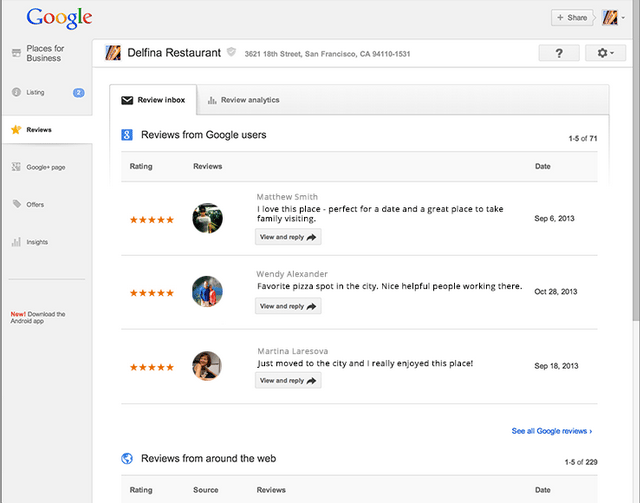 Google Places For Business Adds Reviews Section