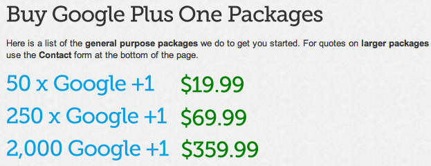 Google Plus One Packages