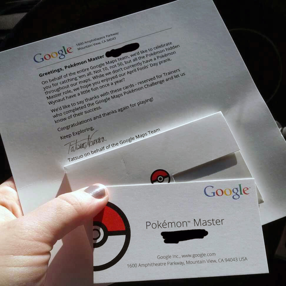 Google Maps Pokémon Winners Get Business Cards & Thank You Letters