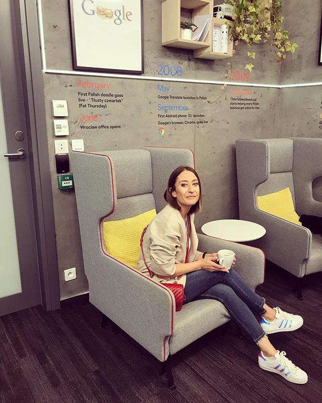 Google Poland Office Lobby Area With Timeline