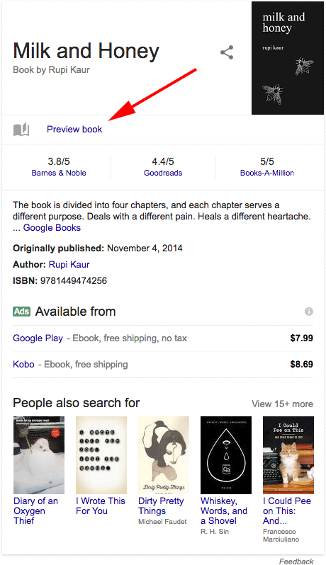 Google Preview Book To Book Knowledge Cards