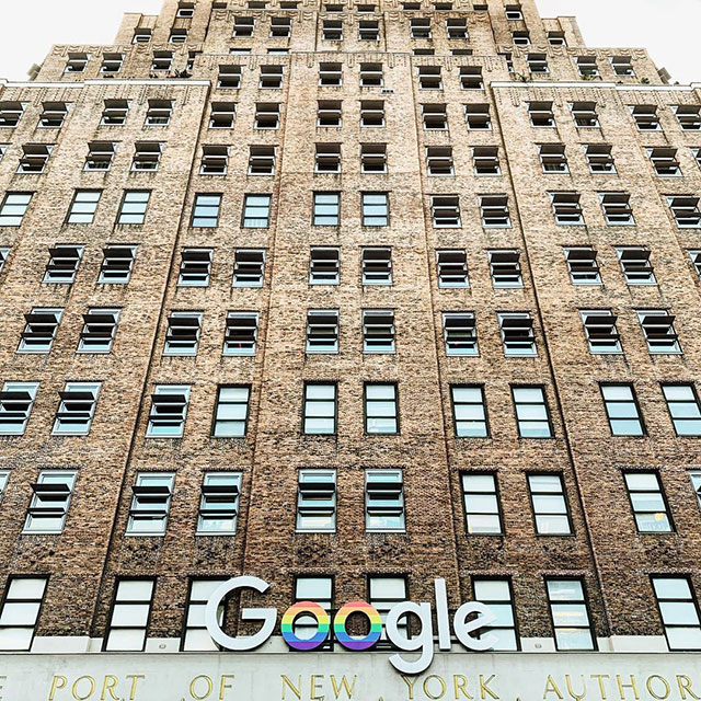 Google NYC Sign Converted To Pride Logo