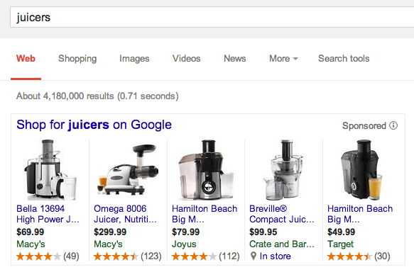 Google AdWords Product Listing Ads Gets Product Ratings