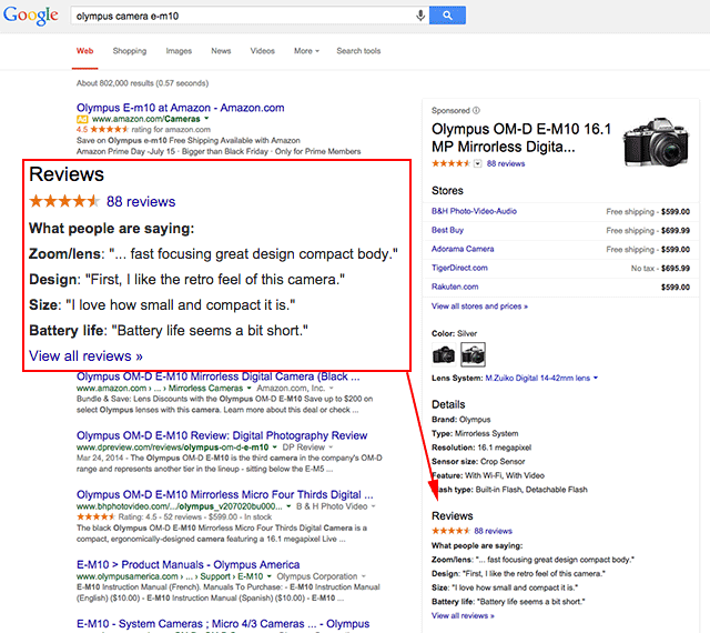 Google What People Are Saying Product Reviews