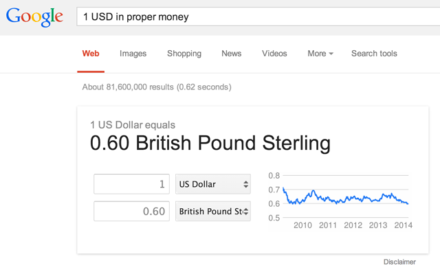 Google Currency Proper Money