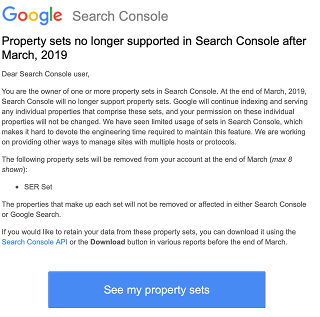 Property Sets No Longer Supported In Google Search Console