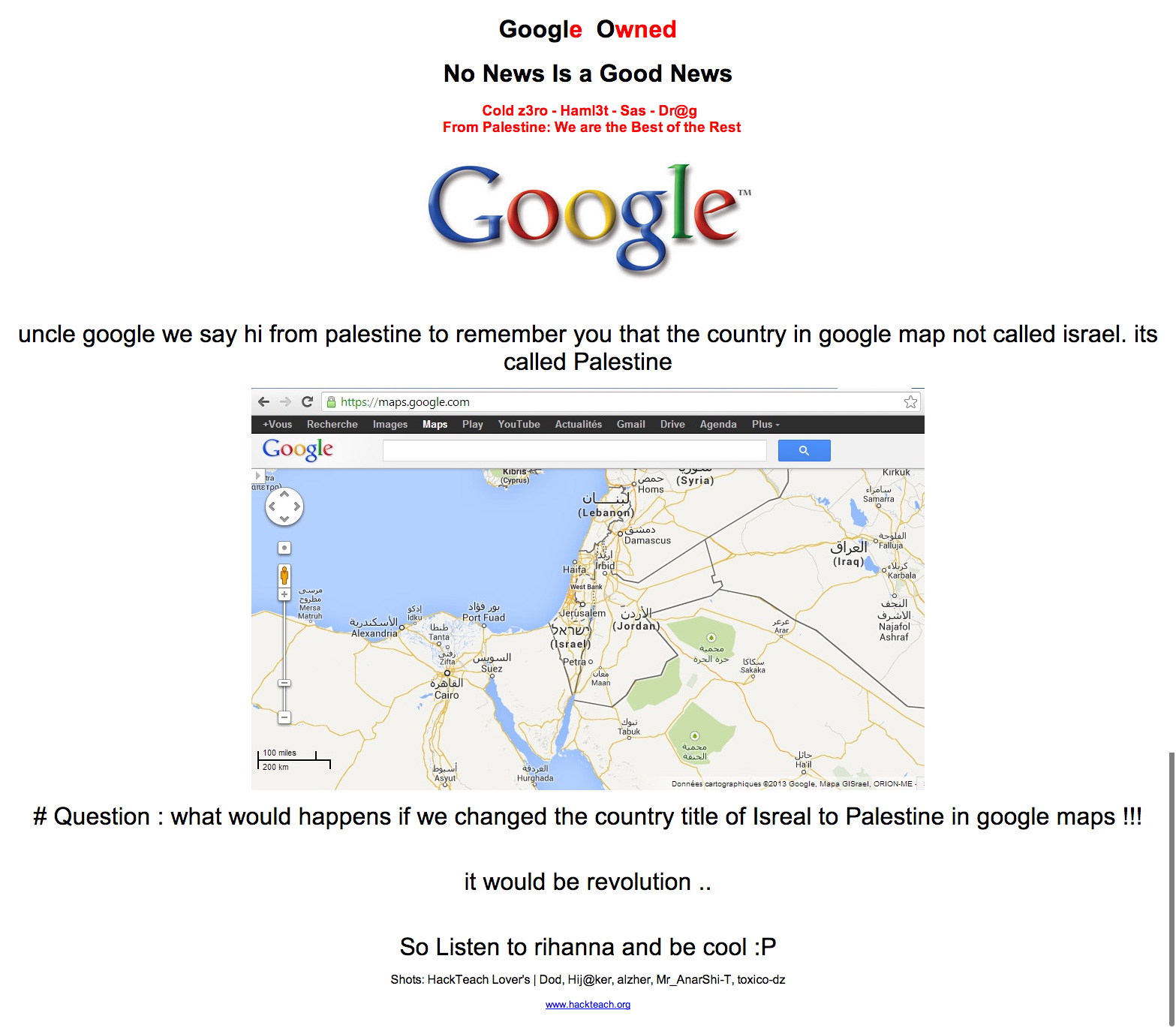 Google Palestine Hacked - Google PS Hacked