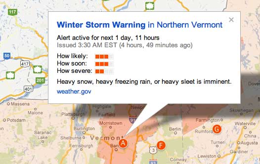 Google Maps Public Alert Detail