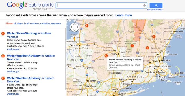 Google Maps Public Alert